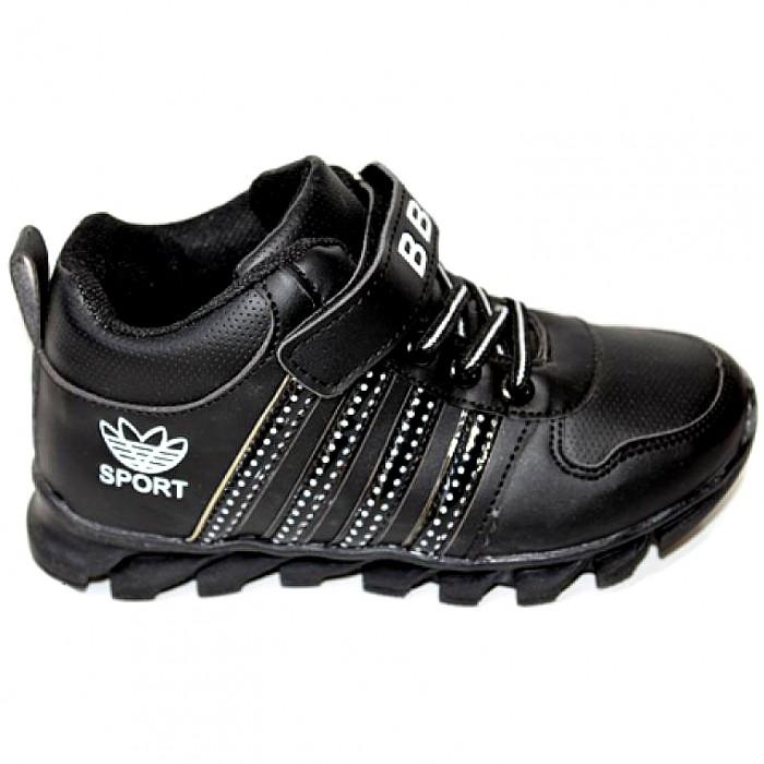 Черные кроссовки на мальчика с липучкой на сайте обуви Городок