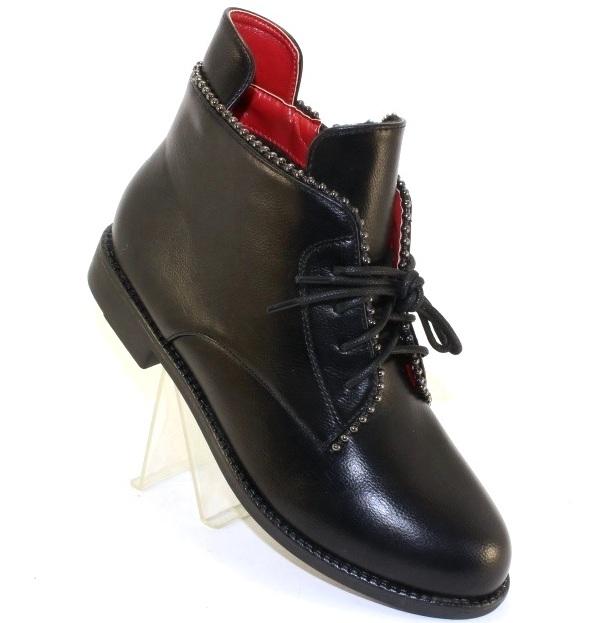 Купить женские ботинки на шнуровке на низком каблуке в интернете
