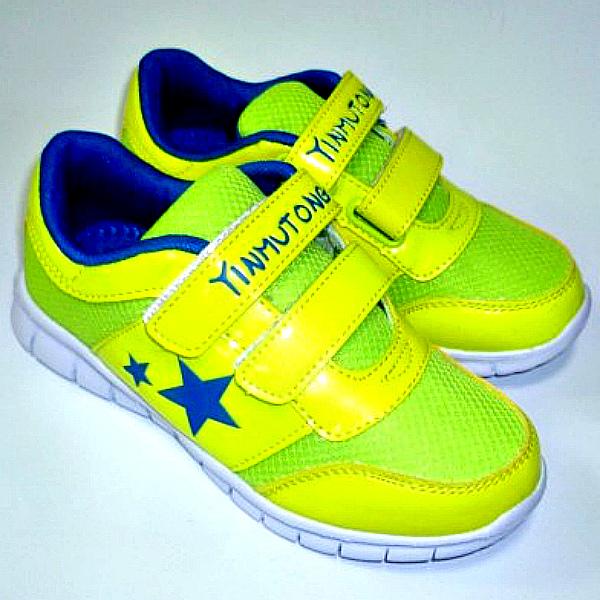 Яскраві кросівки на дівчинку в жовто-салатовий колір на сайті взуття Городок