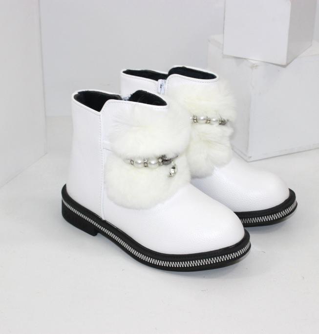 Білі дитячі черевики для дівчаток на осінь