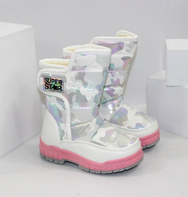 Белые детские сапожки дутики для девочек на зиму