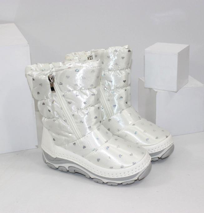 Білі чоботи дутики для дівчаток розміри 25 26 27 28 29 30 31 32