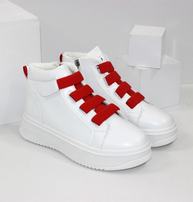 Білі жіночі кросівки хайтопи з червоними резинками