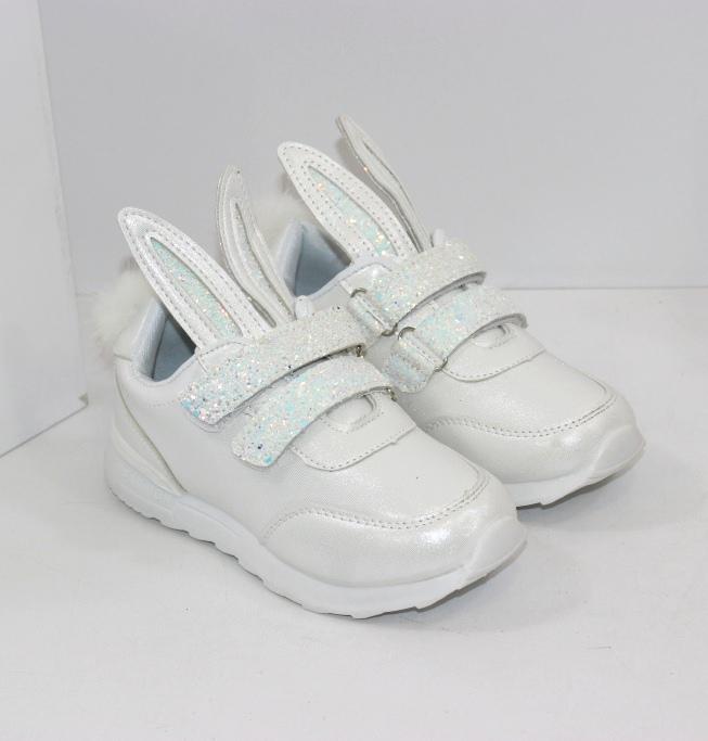 Купить детские кроссовки с ушками и хвостиком для девочек розовые и белые