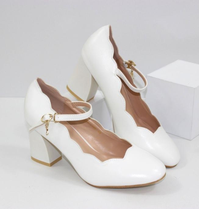 Белые туфли на свадьбу 777-C383 - туфли на каблуке купить в интернет магазине