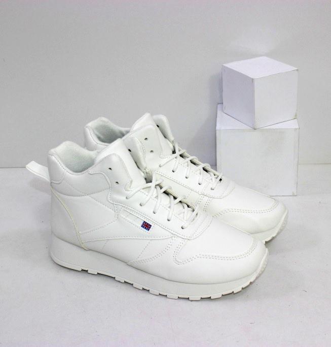 Белые высокие кроссовки на шнурке и молнии для женщин