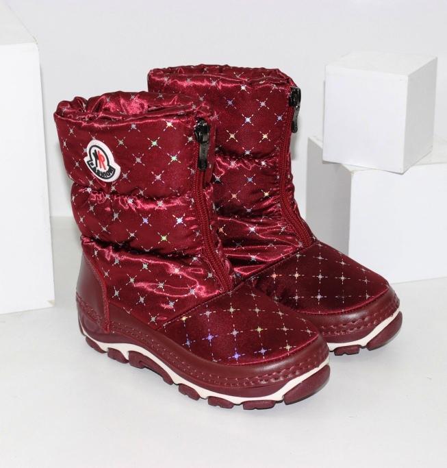 Бордові чобітки дутики для дівчаток розміри 26 27 28 29 30 31 32