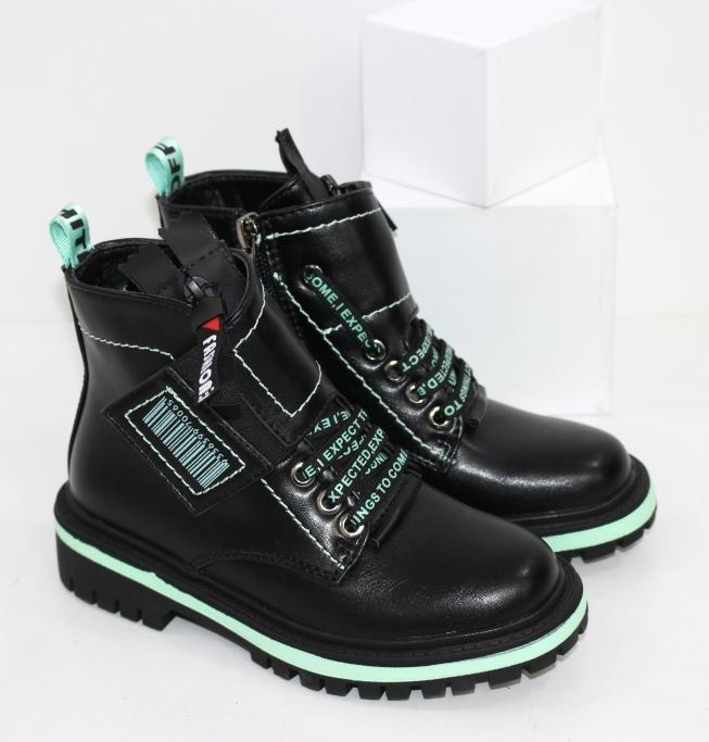 Черные модные ботинки на девочку на осень размеры 26 27 28 29 30 31 32