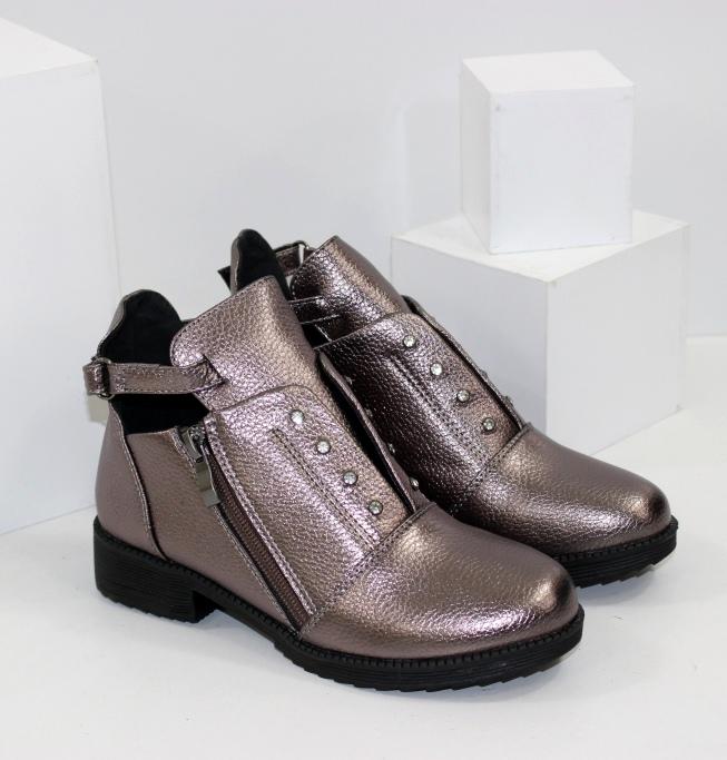 Детские осенние ботинки для девочек бронзовые серебро