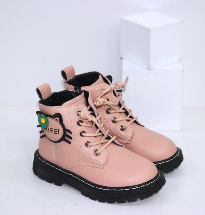 Купить зимние розовые ботинки для девочек с котиком