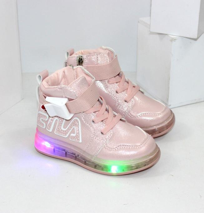Осінні черевики для дівчаток, рожеві з ліхтариками купити