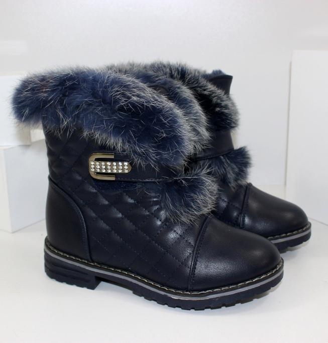 Зимние ботинки с опушкой FLL828-22BLUE- купить теплая детская обувь дешево