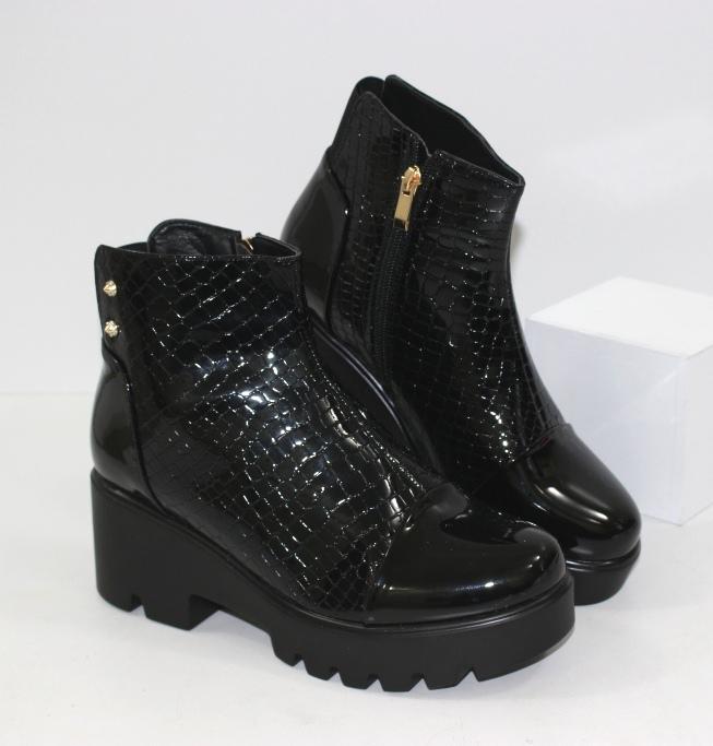 Стильные ботинки на тракторной подошве ABA6-3 - купить полуботинки женские недорогие в интернете
