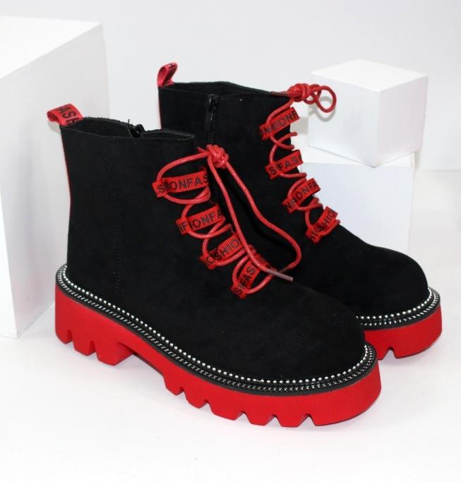 Замшевые ботинки на цветной подошве с яркими шнурками 168-37-red - ботинки по скидке купить на сайте обуви