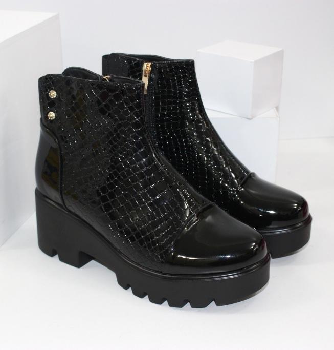 Ботинки лаковые с резинкой ABA6-3 - купить полуботинки женские недорогие в интернете