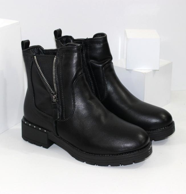 Жіночі черевики на зиму, невисокі на низьких підборах
