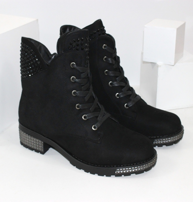 Зимние замшевые ботинки D88-68- зимние ботинки на танкетке купить в недорогом интернете
