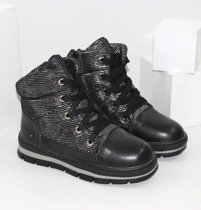 Невисокі дутики зимові, черевики для дівчаток на блискавці і шнурках