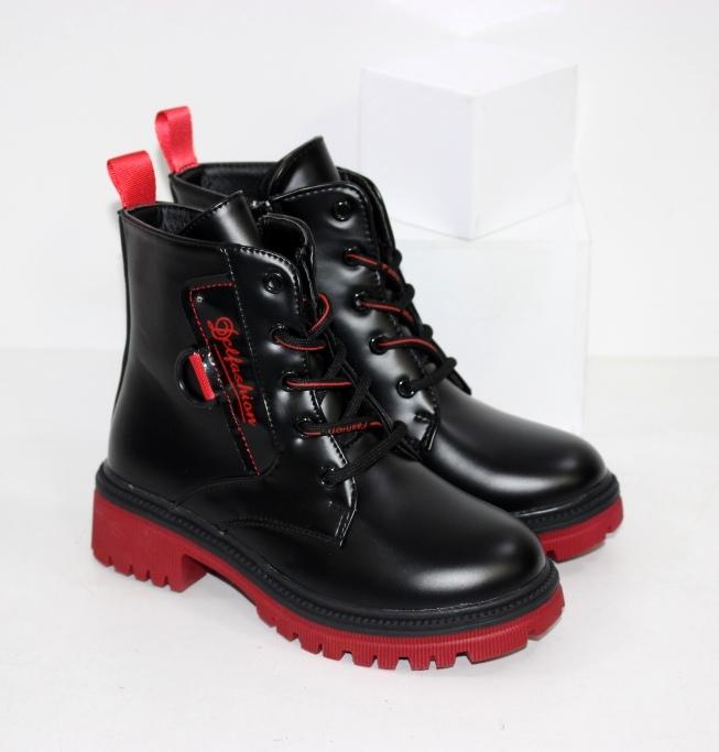 Купить осенние ботинки для девочек на модной красной подошве размеры 27 28 29 30 31 32