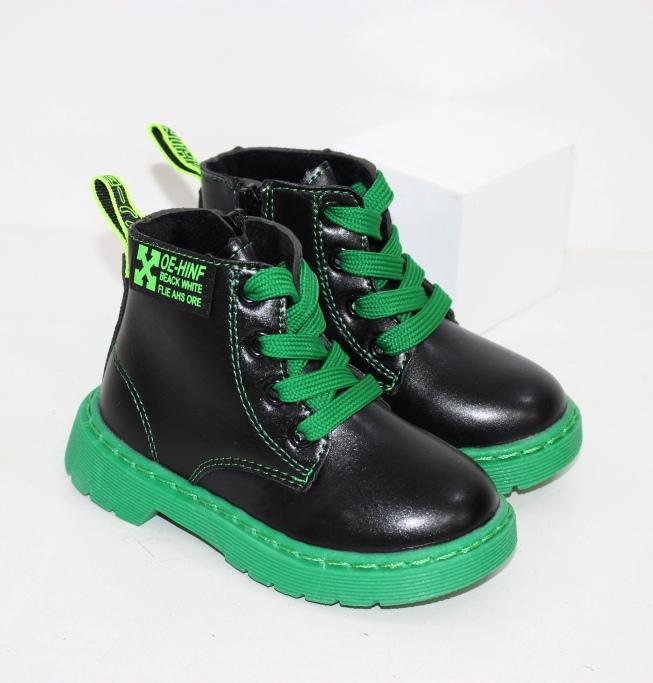 Черные детские ботинки на зелёной подошве размеры 21 22 23 24 25 26