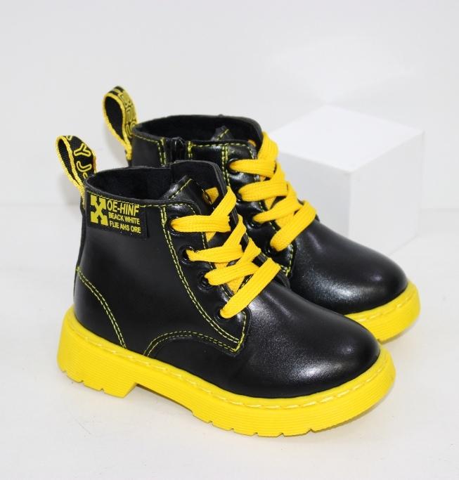 Черные ботиночки на жёлтой подошве для мальчиков и девочек