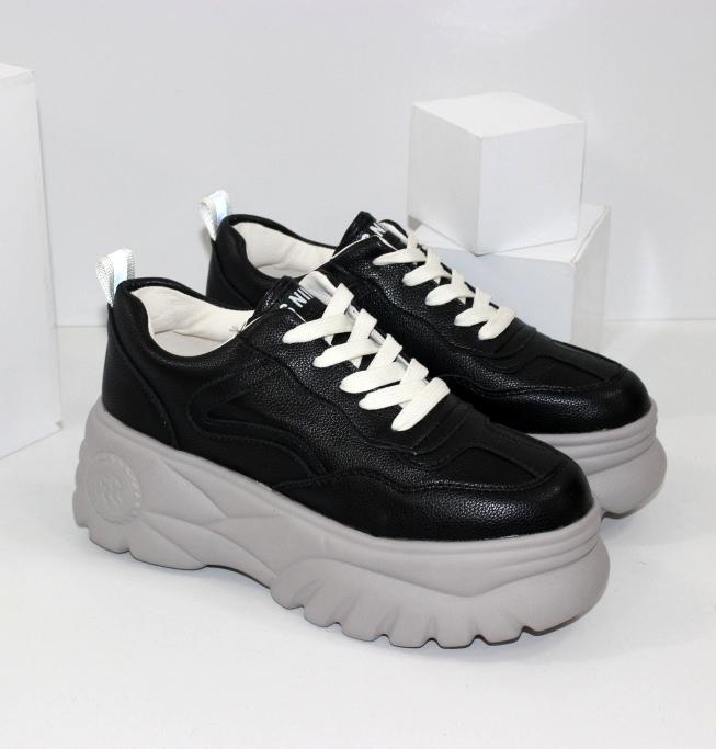 Черные кроссовки для девочек подростков на лёгкой высокой платформе доставка