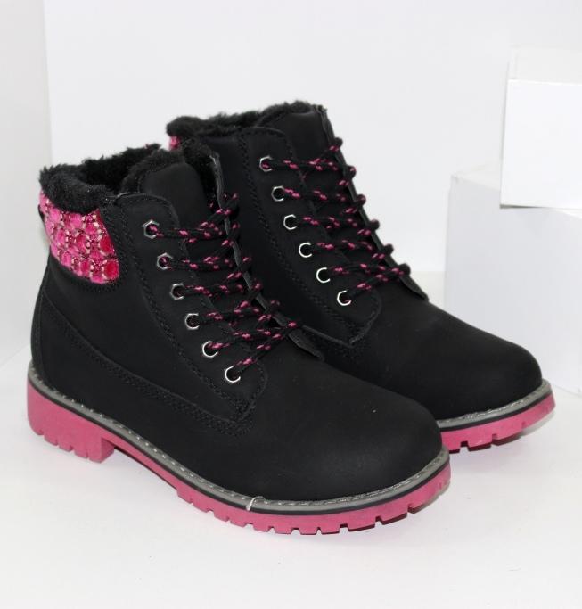 Ботинки детские для девочек на зиму чёрные с розовой подошвой