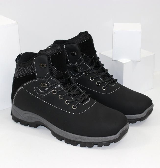 Осенне зимние ботинки для мужчин с текстильной мембраной внутри, чёрного цвета