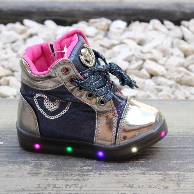 Нарядные ботиночки для девочки со светящиеся подошвой артикул R92E-4 - недорого детская обувь купить в интернет магазине