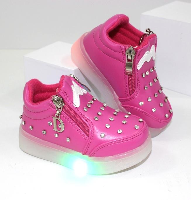 Нарядные ботиночки для девочки со светящиеся подошвой F295-1 - недорого детская обувь купить в интернет магазине
