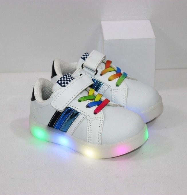 Купить недорого детские белые кроссовки на LED подошве