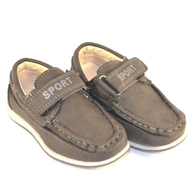 Детские мокасины на мальчиков на липучке артикул  A-3 серые - купить детские туфли в сад недорого