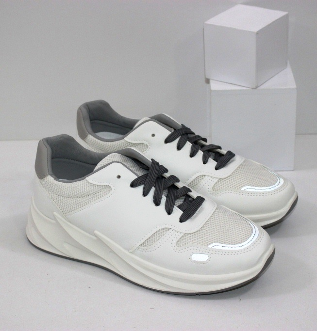 Купить недорого женские белые кроссовки из ЭКО кожи и сетки