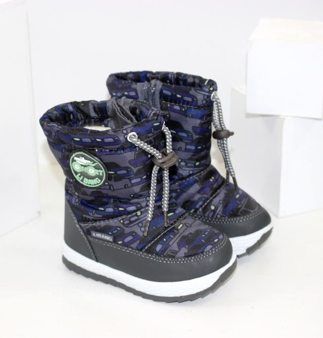 Зимові черевики дутики для хлопчиків розміри 21 22 23 24 25 26