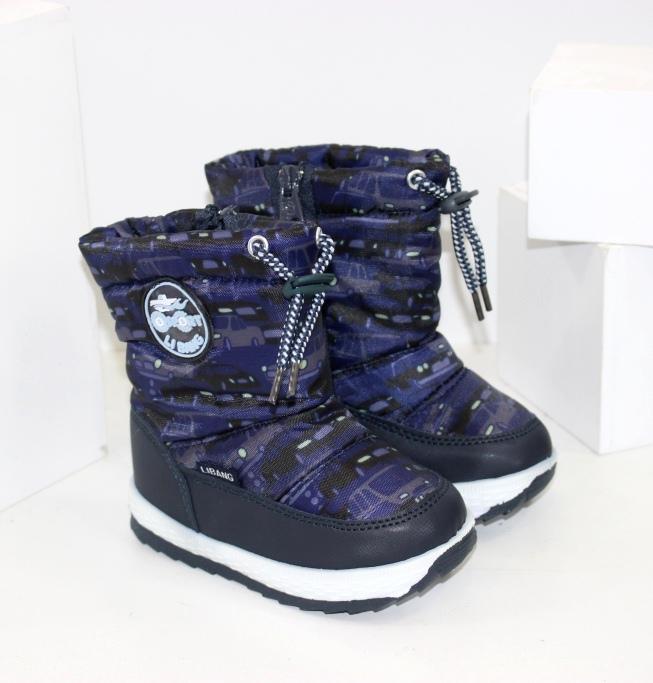Зимние ботинки дутики для мальчиков размеры 21 22 23 24 25 26