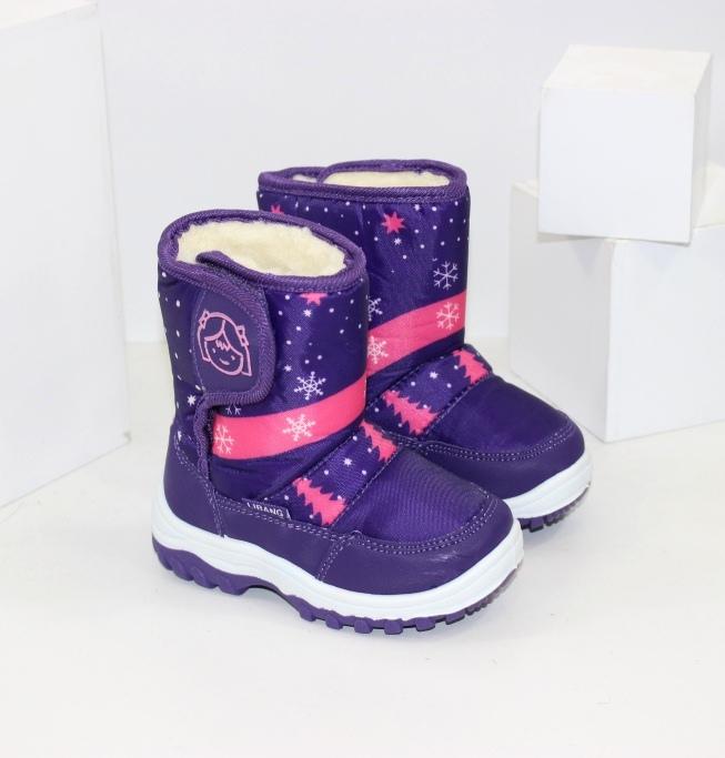 Тёплые ботинки дутики из кожзама и плащевки для девочек