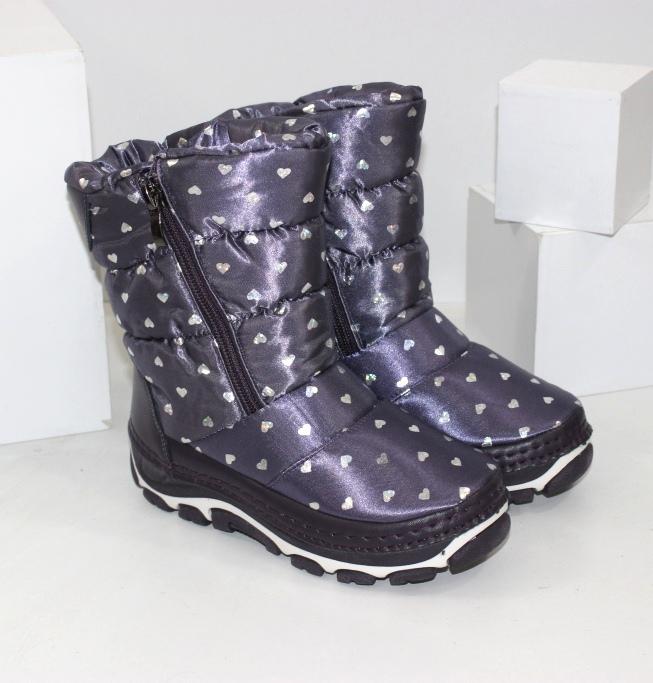 Дитячі зимові чоботи дутики для дівчаток на блискавці сині