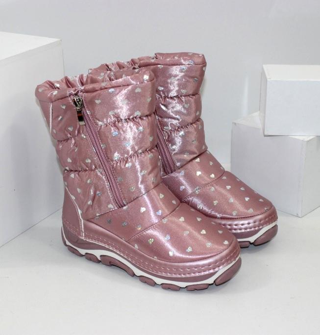 Детские зимние сапоги дутики для девочек розовые