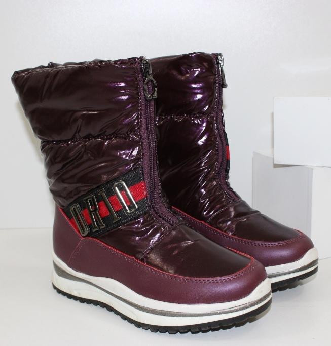 Детские сапоги дутики для девочек E8019-4- купить теплая детская обувь дешево