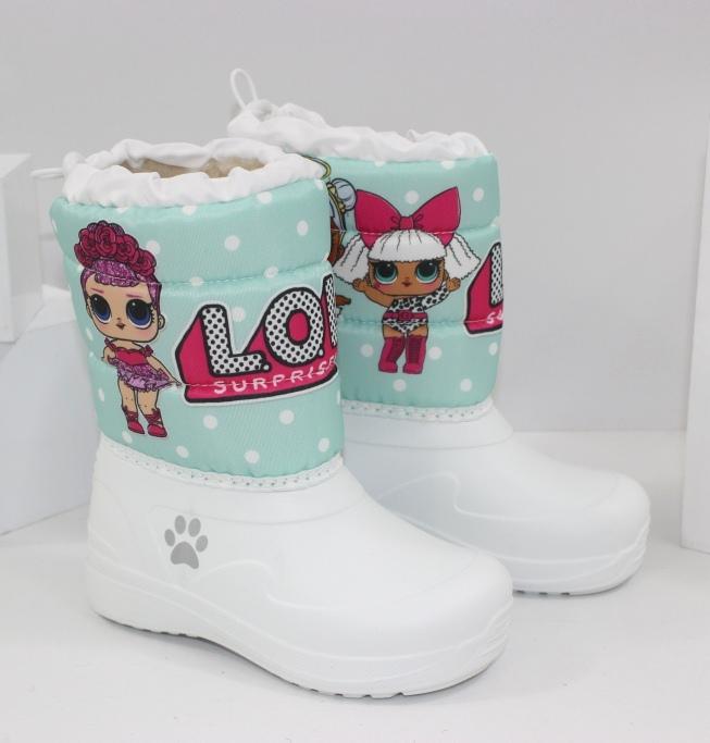 """Теплые детские дутики для девочек """"Кукла ЛОЛ"""" 6092-19д - купить модные детские ботинки через интернет магазин"""