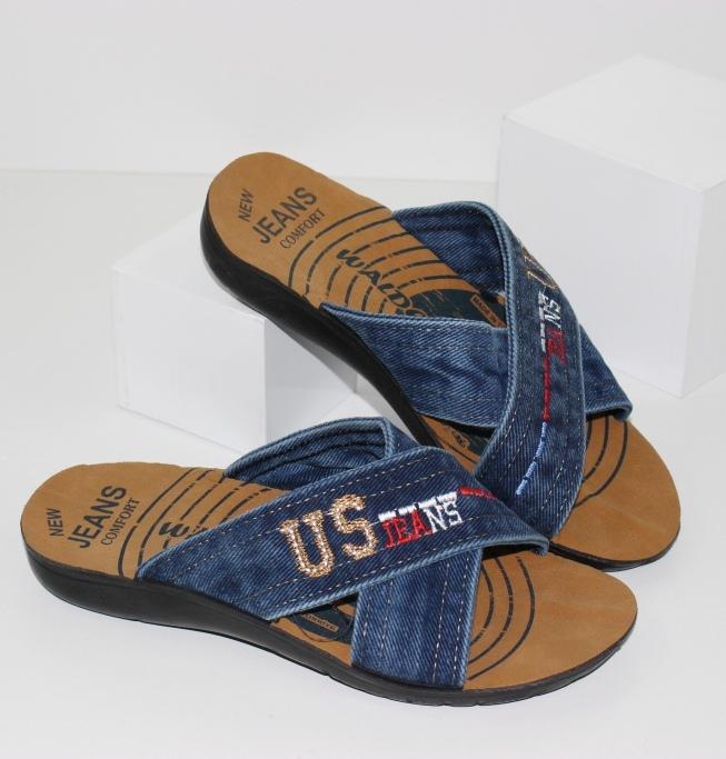 Подростковые джинсовые шлепанцы П211 - купить обувь для мальчиков, каталог магазина