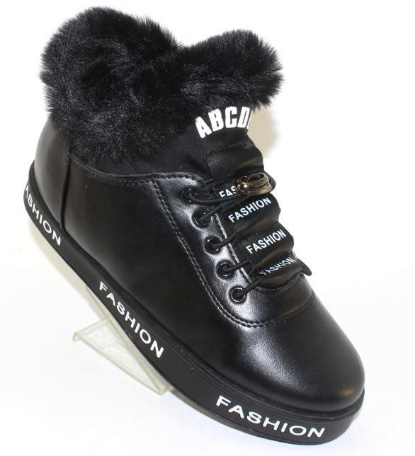 Жіночі чорні черевики з хутряним відворотом GF-ZM106 BLACK