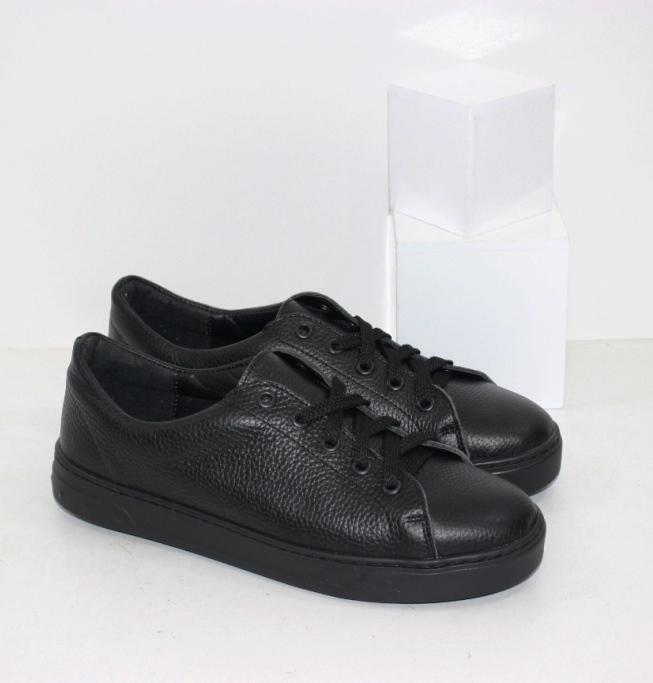 Купить кожаные кроссовки черные