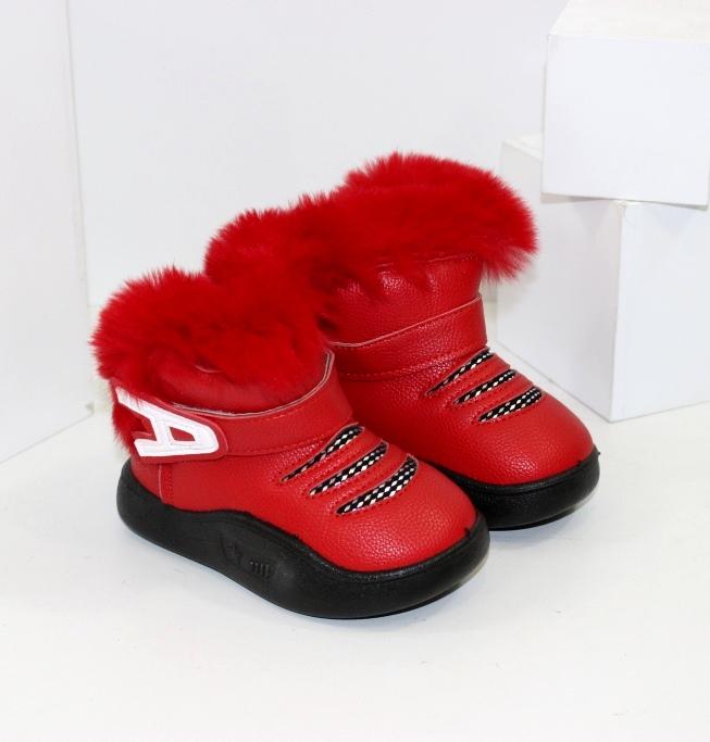 Червоні черевики уггі для дівчаток на зиму з опушкою