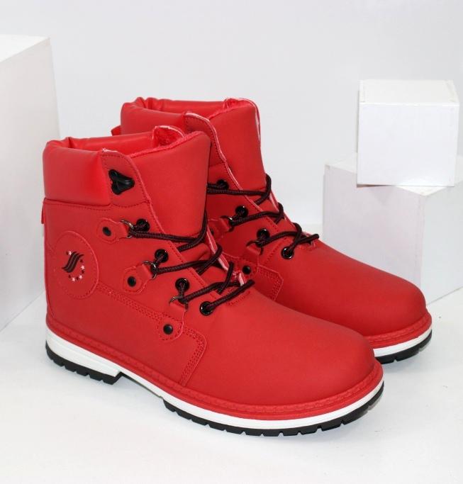 Недорогие красные ботинки для женщин и девочек на осень
