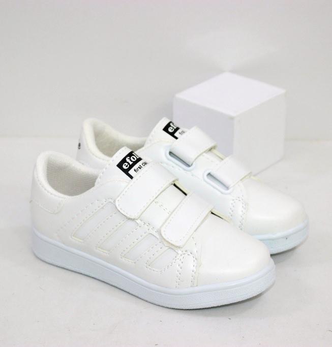 Белые кроссовки скейтеры на липучках для мальчиков и девочек