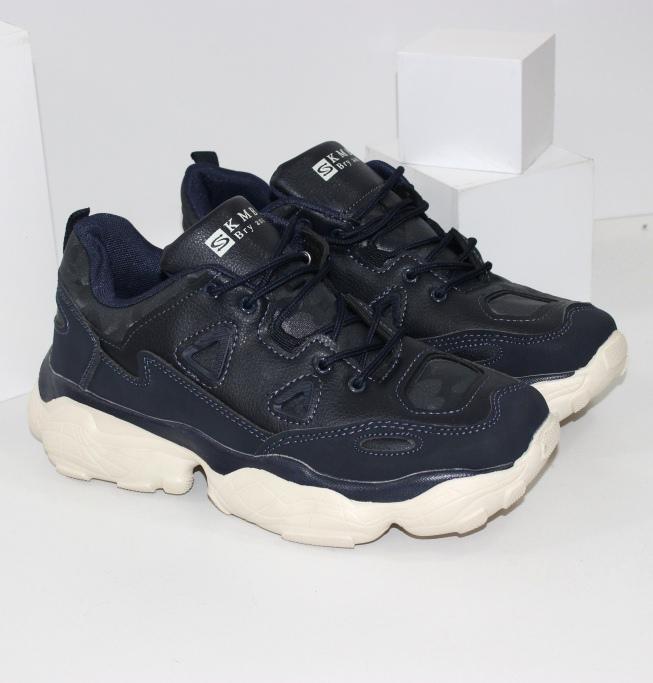 Молодёжные кроссовки мужские для спорта, синие купить в интернете