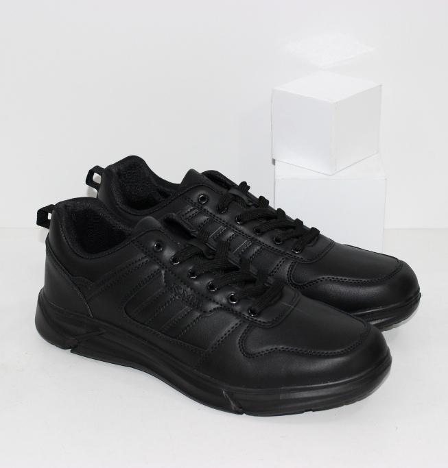 Практичные мужские черные кроссовки на лёгкой подошве из пены ЭВА