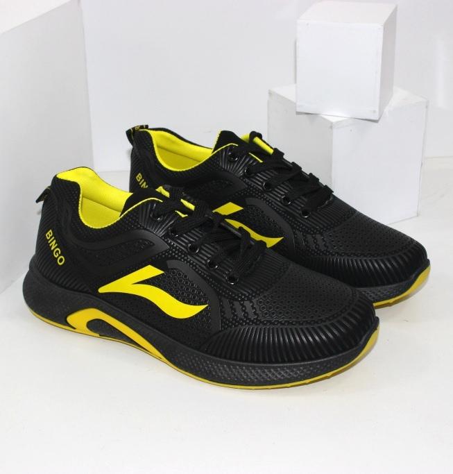 Кроссовки мужские черные с желтыми вставками
