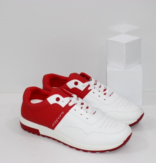 Купить мужские стильные кроссовки двух цветные белые с красным